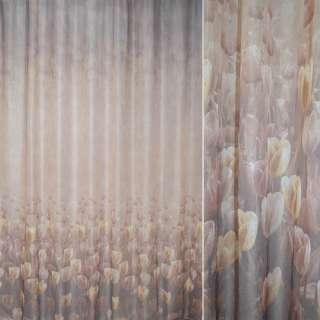 Кристаллон коричнево-бежевый тюльпаны ш.275