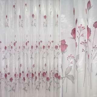 Кристаллон тюль принт розы вишневые, белый, ш.270