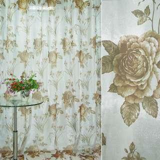 Кристаллон тюль принт розы букеты коричневые на белом фоне, ш.270