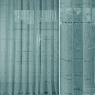 Лен гардинный с мережкой бирюзовый, ш.300