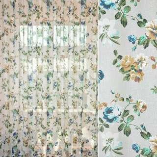 Лен гардинный деворе белый с коричнево-зелено-голубыми цветами, ш.280