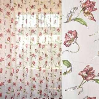 Лен гардинный деворе белый с бордовыми тюльпанами, ш.278