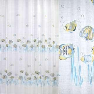 Лен гардинный рыбки голубые, белый, ш.270