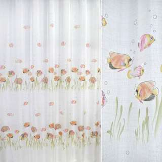Лен гардинный рыбки розовые, белый, ш.270