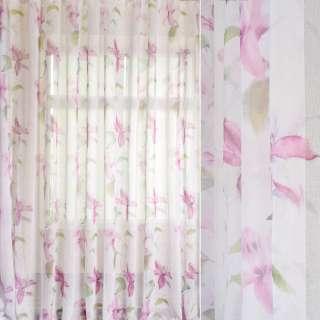 Лен французский белый в акварельные розовые лилии, зеленые листья, ш.280