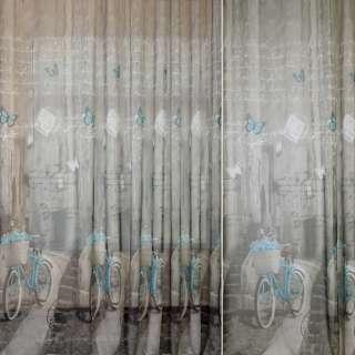 Лен французский серый с бирюзовыми велосипедами, ш.260