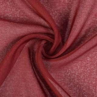 Лен французский гардинный бордовый черточки, ш.280