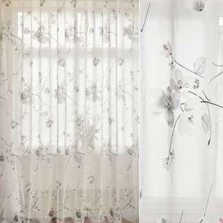 Лен гардинный деворе белый, цветы сакуры, ш.280