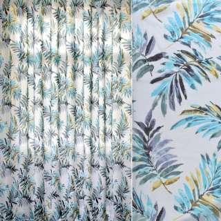 Лен гардинный деворе белый, бирюзово-серо-желтые листья, ш.280