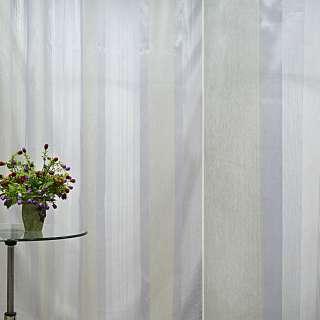 Органза тюль полосы шелковые кремовые, голубые, ш.300