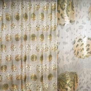 Органза жаккардовая тюль леопард и цветы, бежево-зеленая, ш.280