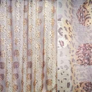 Органза тюль леопард коричневый светлый, цветы серебристо-розовые, молочная, ш.280