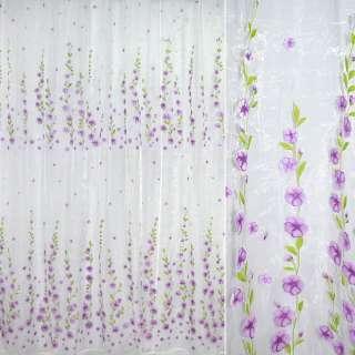 Органза белая с сиреневыми цветами ш.270