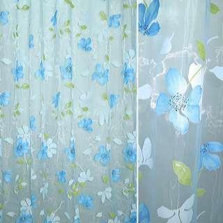 Органза голубая в голубые цветы ш.270
