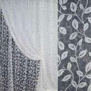 Органза с флоком белая с листьями ш.280