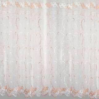 Органза белая с вышитыми белыми и бежевыми завитками ш.250