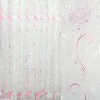 Органза белая с вышитыми белыми и розовыми завитками ш.250