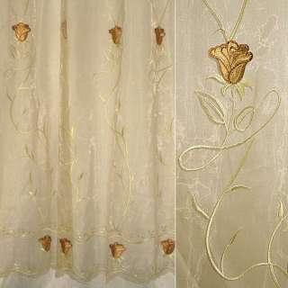 Органза бежевая с вышитыми бежево-коричневыми тюльпанами и веточками ш.280