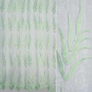 Органза белая с вышитыми салатовыми узкими листьями ш.280