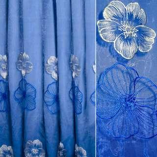 Органза синяя с крупными вышитыми сине-бежевыми цветами