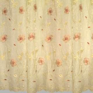 Органза желтая светлая с вышитыми бледно-розовыми цветами и листьями ш.270