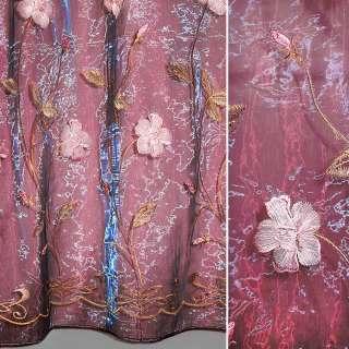Органза бордовая с вышитыми розовыми цветами и листочками ш.270