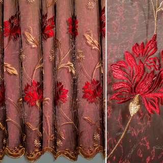 Органза бордовая с вышитыми бежевыми и красными цветами ш.280