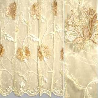Органза бежевая с вышитыми бежево-кремовыми цветами ш.280