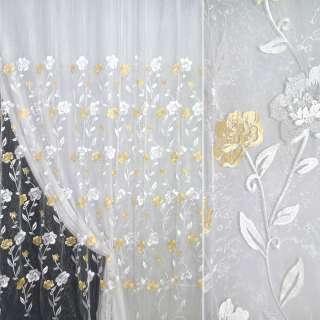 Органза белая с вышитыми желто-белыми цветами ш.270