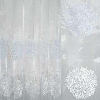 Органза белая с вышитыми бело-голубыми цветочными шарами ш.280