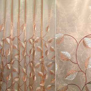 Органза коричневая светлая с вышитыми коричнево-бежевыми листьями ш.280
