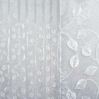 Органза белая с вышитыми белыми листьями ш.280