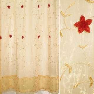 Органза тюль нашитые цветы красные темные, вышивка листья вьющиеся бежевые, бежевая, ш.275