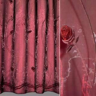 Органза тюль вышивка с нашитыми розами бордовыми, бордовая, ш.280