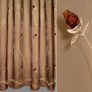 Органза тюль вышивка с нашитыми розами коричневыми, коричневая, ш.270