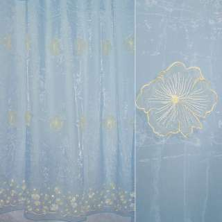 Органза тюль с нашитыми цветами крупными желтыми, голубая, ш.275