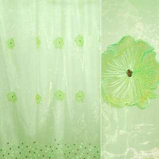 Органза тюль с нашитыми цветами крупными зелеными, зеленая, ш.275
