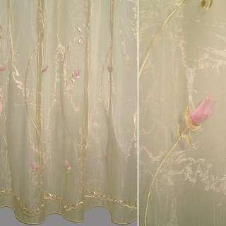 Органза тюль вышивка с нашитыми розами розовыми, бежевая темная ш.280