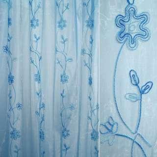 Органза тюль с нашитым шнуром круглым с метанитью цветок голубой, голубая ш.275