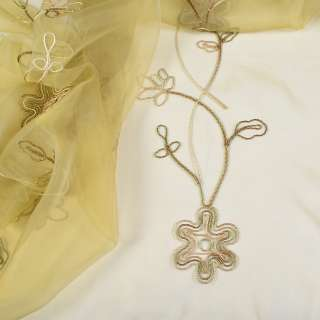 Органза тюль с нашитым шнуром круглым с метанитью цветок бежево-коричневый, бежевый, ш.275
