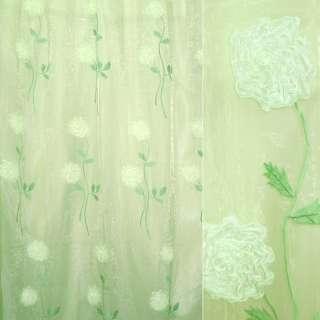 Органза тюль вышивка, тесьма капроновая цветок, салатовая,  ш.275