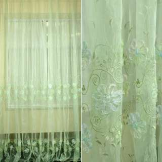 Органза тюль вышивка, тесьма капроновая цветок, зеленая светлая, ш.275