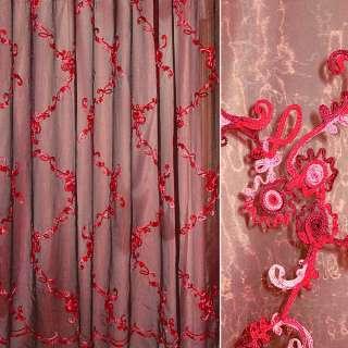 Органза тюль с нашитым шнуром розово-бордовым, красно-черная, ш.275
