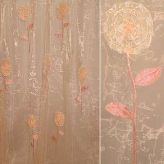 Органза тюль вышивка, тесьма капроновая цветок, абрикосовая, ш.280