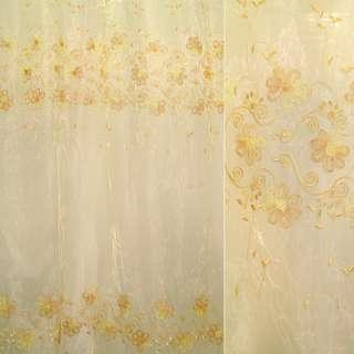 Органза тюль вышивка, тесьма капроновая цветок желто-бежевая, кремовая, ш.275