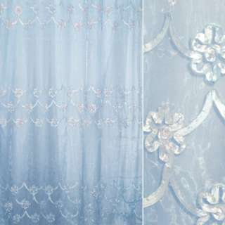 Органза тюль с нашитой тесьмой из тафты цветы воланы, голубая, ш.275