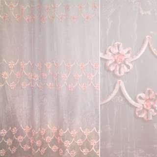 Органза тюль с нашитой тесьмой из тафты цветы воланы, розовая, ш.275