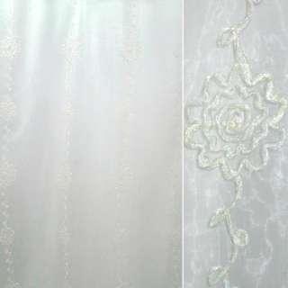 Органза тюль с нашитой тесьмой капроновой с метанитью цветы, белая, ш.275