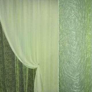 Органза cветло-зеленая с вышивкой паутина ш.270