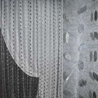 Сетка паутинка гардинная листочки серая светлая, ш.270